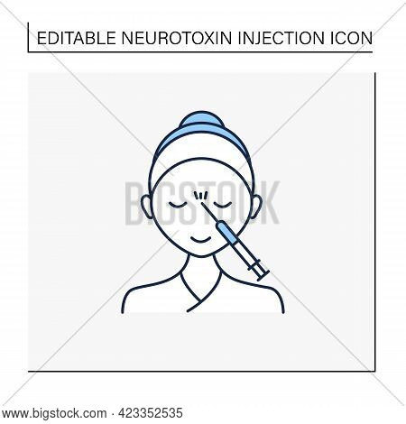 Cosmetic Injection Line Icon.woman Doing Injection Between Eyebrows. Rejuvenation. Beauty Cosmetic P