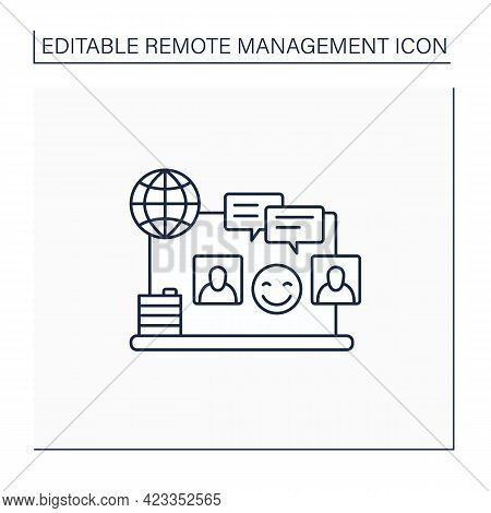 Informal Communication Line Icon. Non-work Topics Conversations. Communicate Remotely. Remote Manage