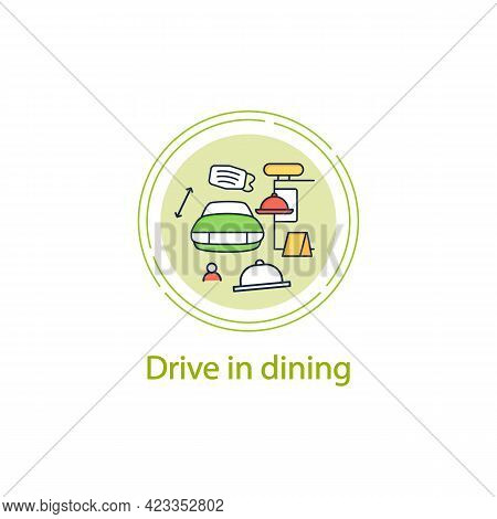 Drive In Dining Concept Line Icon.food Ordering At Distance. Regulation Through Covid19. Restaurants