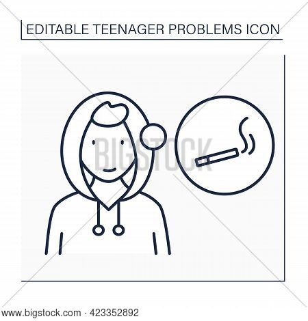 Smoke Trying Line Icon. Desire To Be Older Due To Smoking Cigarettes Or Using Other Narcotic Drugs.