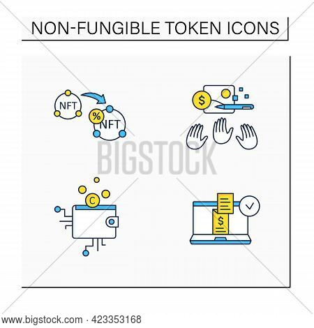 Nft Color Icons Set. Non Fungible Tokens Resale, Cryptocurrency Wallet, Digital Receipt, Popular Wor