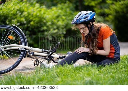 Cyclist Fell Down From Bike. Bicycle Injury