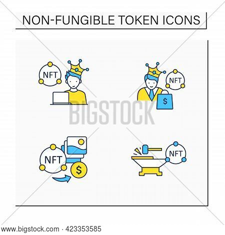 Nft Color Icons Set.minting. Non Fungible Tokens Artist, Buyer.unique Digital Assets. Digitalization