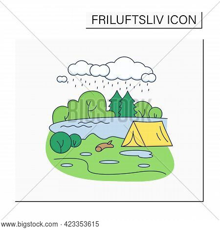 Camping Color Icon.tent On River Landscape Background. Bad Weather. Adventure Tourism. Green, Eco To
