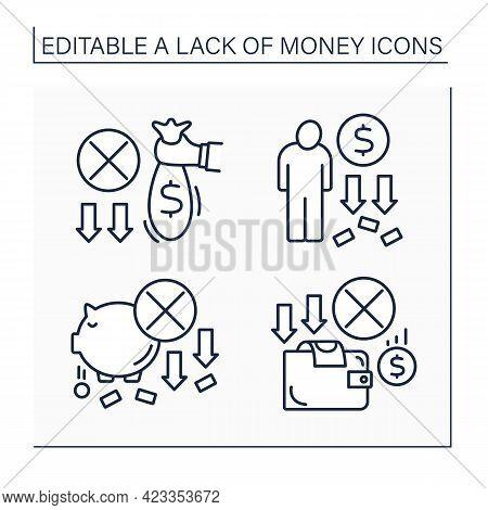 Money Lack Line Icons Set. Loses Saving Money. Piggybank. Unprofitable Investment. Poverty. Poorness
