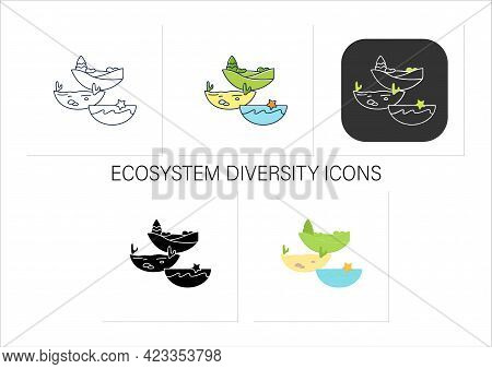 Ecosystem Diversity Icons Set.ecosystems Variety, By Their Nature And Number, Living Species Interac