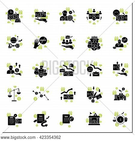 Universal Basic Income Glyph Icons Set. Tax Declaration, Economic Growth. Inequality And Inflation.