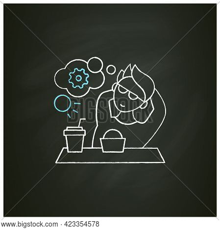 Workaholic Chalk Icon. Cognitive Causes. Man Relax, Think About Productivity. Work Love Concept.isol