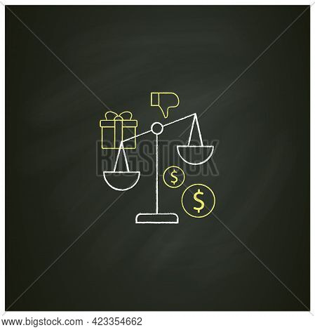 Inequality Chalk Icon. Economical Injustice.gap Between Rich And Poor, Wealth Disparity. Scales.univ
