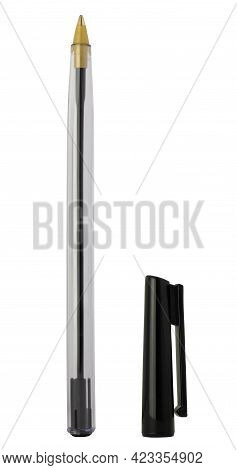 A Cheap Plastic Ballpoint Pen With Black Ink Isolated On A White Background