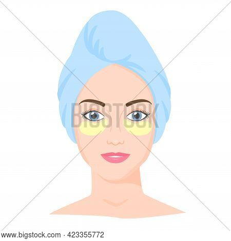 Young White Woman With Eye Patches And Towel On Head. Skincare Procedures At Home. Cosmetic Eye Pads
