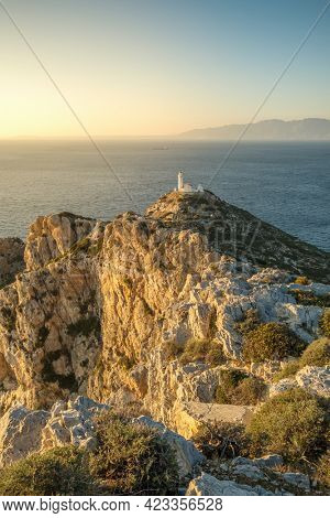 Knidos lighthouse on the cliff at Datca peninsula in Turkey. Beautiful mediterranean seascape with a lighthouse on rocks