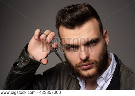 Young Sexy Man, Portrait Of Guy With Barber Scissors For Barber Shop. Modern Barbershop, Shaving. Ha