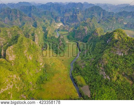 The Majestic Scenery On Ngo Dong River In Tam Coc Bich Dong View From Drone In Ninh Binh Province Of