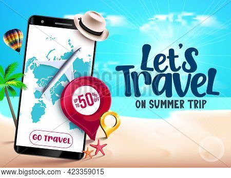 Travel Tours Sale Vector Banner Design. Travel Tours Special Offer Text Up To 50% Off With Luggage A