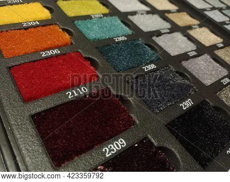 Sliced Pieces Of Carpet. Samples Of Flooring. Home Carpet.