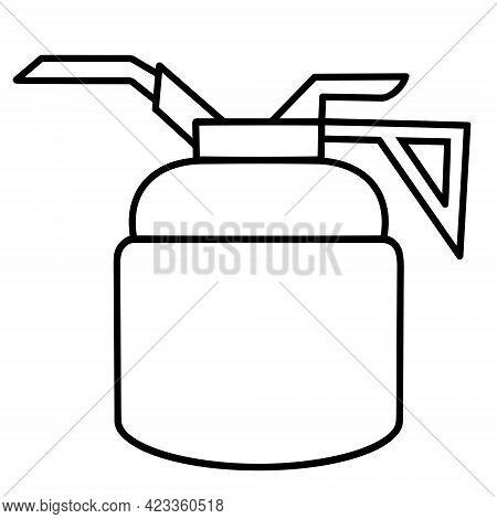 Oiler Vector Icon. Black Outline Of The Lubricator. Line Art Of An Oil Pistol. Tank For Storing Mach