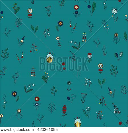 Cute Pattern In Small Colorfool Flower. Small Colorful Flowers In Green Background. Ditsy Floral Bac