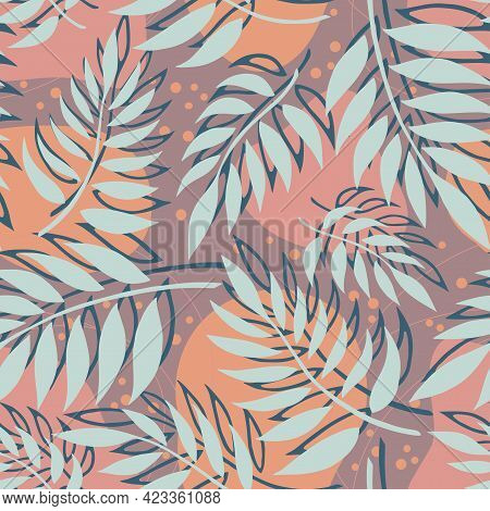 Seamless Vector Background With Different Fern Leaves On Brоwn Background. Vector Illustration