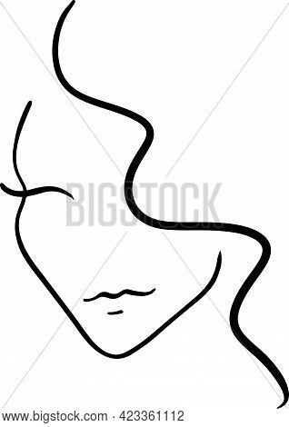 Template Logo For Beauty Products. Abstract Sketch Girl. Vector Illustration.