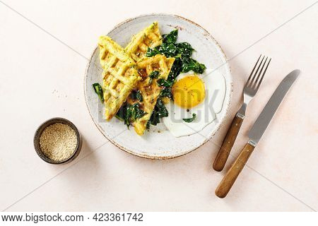 Warm Waffles With Spinach And Cheese. Savory Breakfast,