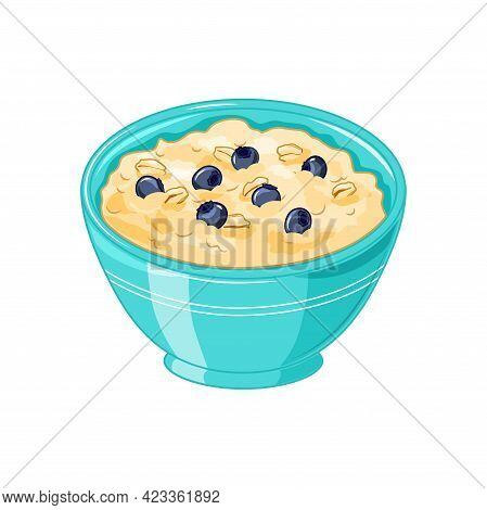 Oatmeal Porridge With Blueberries In A Blue Bowl. Healthy Breakfast, Vegetarian Food. Isolated On A