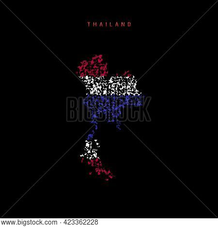 Thailand Flag Map, Chaotic Particles Pattern In The Colors Of The Thai Flag. Vector Illustration Iso