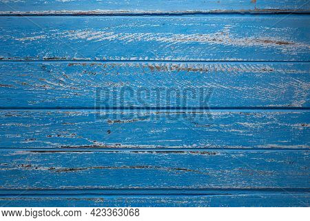 Blue Wooden Table. Top View With Copy Space.