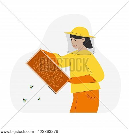 Female Bee-keeper Holding Honey Cells, Caring Bees. Apiary Concept.