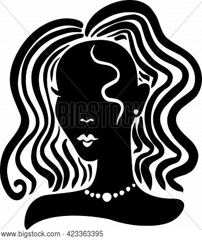 Black Beauty Girl Silhouette With Long Hair Isolated On White Background.