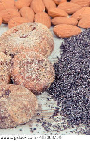 Vintage Photo, Natural Food Containing Calcium, Dietary Fiber And Minerals, Concept Of Healthy Nutri