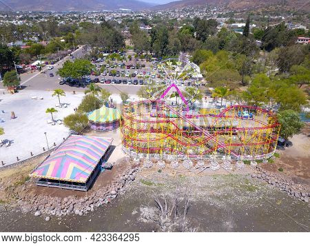 Aerial View Of Mechanical Games On The Jocotepec Boardwalk, Mexico