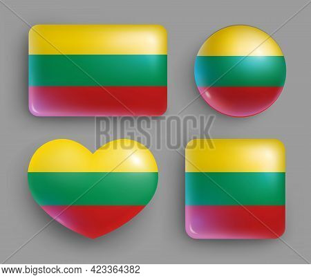 Set Of Glossy Buttons With Lithuania Country Flag. North Europe Country National Flag Shiny Badges O