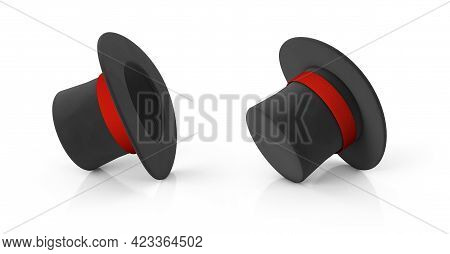 Magician Hat. Black Cylinder Hat With A Red Ribbon. Isolated On White Background. 3d Render.