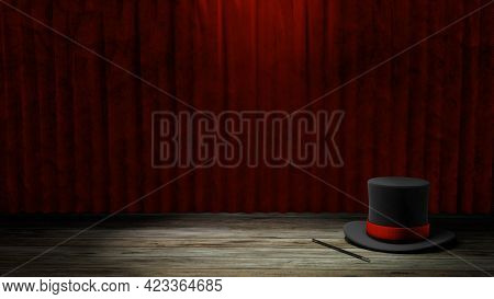 Magician Hat. Black Top Hat With A Red Ribbon And A Magic Wand. Red Curtain With Wooden Floor. Copy