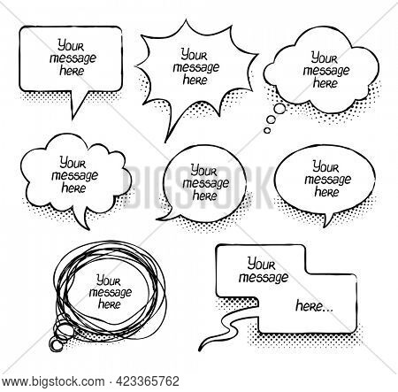 Comics message clouds collection. Hand drawn speech bubbles. Chat emotions messages. Comic balloon doodle style. Web design elements text for banners. Isolated on white background. 3D illustration.