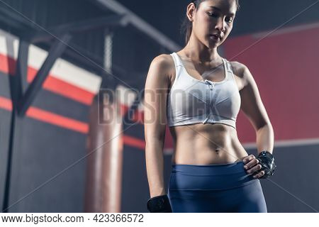 Asian Beautiful Athlete Fit Girl Stand With Confidence After Abs Abdomen Cardio Workout Exercise In