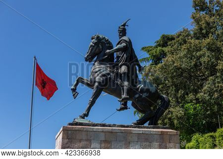 Kruja, Kroja, Kruja, Kruj, Krujë - Skenderbeg statue on horse in  town and a municipality in north central Albania