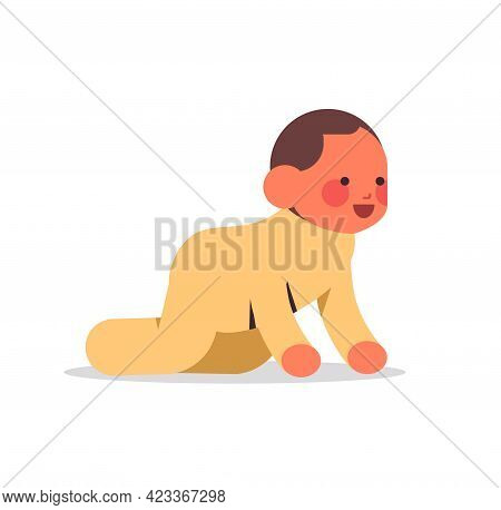 Little Baby Boy Infant In Yellow Pajamas Childhood Concept Full Length Isolated