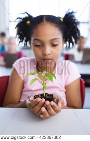 African american girl holding a plant seedling while sitting on her desk in class at school. school and education concept