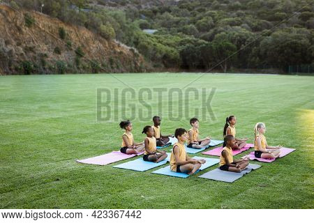 Group of diverse students practicing yoga and meditating sitting on yoga mat in the garden at school. school and education concept