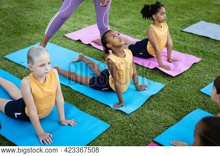 Group of diverse students performing stretching exercise in the garden at school. school and education concept
