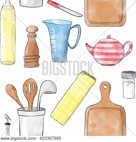 Seamless Sketch Pattern With Cartoon Kitchenware: Pepper Mill,  Jar With Wooden Spoon, Wooden Kitche