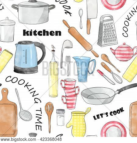 Seamless Sketch Pattern Cartoon Kitchenware With Black Inscriptions: Cook, Kitchen, Let's Cook, Cook