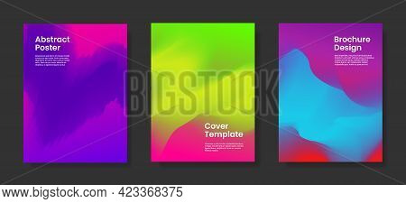 Set Of Abstract Vector Cover Templates With Vivid Colors. Stock Vector Backgrounds.