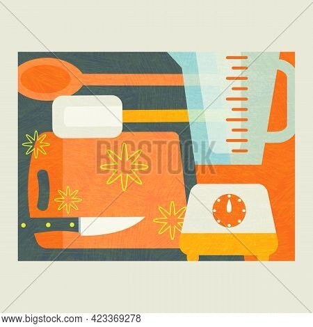 Abstract Collage Of Tools For Food Preparation Including A Blender, Knife, Cutting Board And Spatula