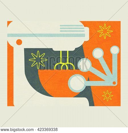 Abstract Collage Of Tools For Baking And Food Preparation. Includes Electric Mixer,  Bowl And Set Of