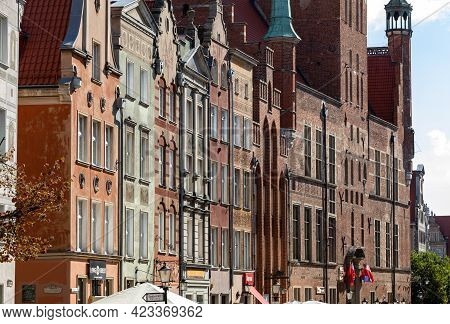 Gdansk, Poland - Sept 6, 2020: The Facades Of The Restored Gdańsk Patrician Houses At Long Lane In O