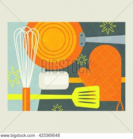 Abstract Collage Of Cooking Tools For Food Preparation. Includes Whisk, Frying Pan, Oven Mitt And Sp