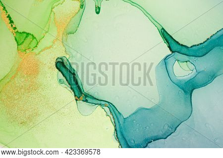 Watercolor Green, Blue And Gold Abstract Stains Background. Ink Gradient Texture.